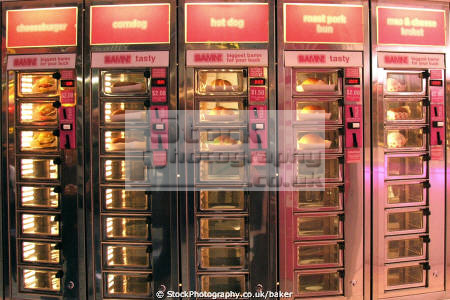 hot food vending machine new york city eating nutrition human activities cheeseburger dog corn roast pork bun mac cheese bamn pink colorful colourful lower east big apple united states american