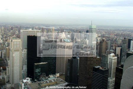 manhattan aerial view rockefeller center new york city american yankee nyc rock sky scrapers overlooking high rise cityscape big apple united states