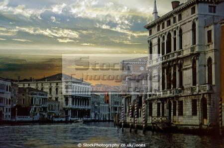 evening shot grand canal venice. italian european venezia italy italia palazzo palace water taxi night sunset twilight venice venitian italien italie
