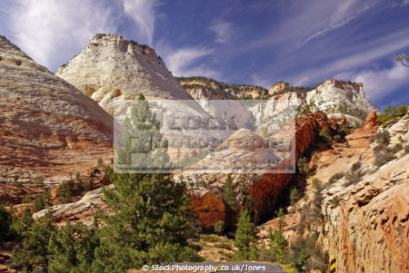 classic zion national park panorama rock formations geology geological science navajo sandstone cliffs exposure np scenic byway highway jurassic cirrus utah united states american