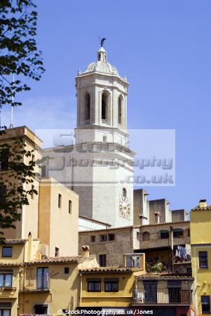 girona spain looking rooftops cathedral catalunya catalonia spanish espana european església church tower religious catholic espagne españa catedral costa brava spanien la spagna