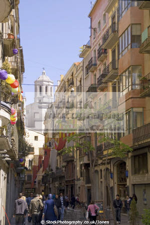 girona spain looking rambla la llibertat cathedral catalunya catalonia spanish espana european església espagne españa shops businesses restaurants bars catholic religion religious costa brava spanien spagna