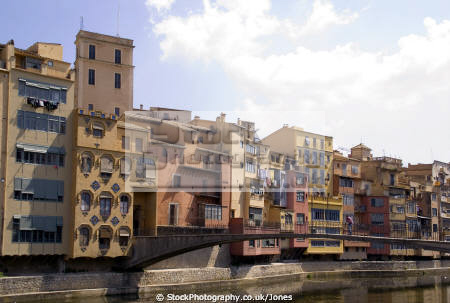 girona spain apartments businesses lining river onyar. catalunya catalonia spanish espana european església espagne españa bridge reflection costa brava spanien la spagna