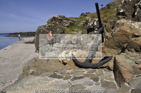 dunseverick harbour marine anchor coiled rope lifebouy hikers sea county antrim aontroim northern ireland ulster irish irland irlanda united kingdom british