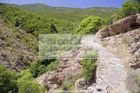 corsica covered irrigation channel near galeria french landscapes european haute-corse haute corse hautecorse levada water valley granite island corse france la francia frankreich