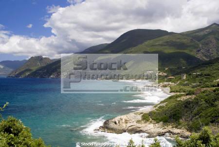 corsica plage farinole looking north french landscapes european haute-corse haute corse hautecorse beach genoise tower mediterranean turquoise corse france la francia frankreich