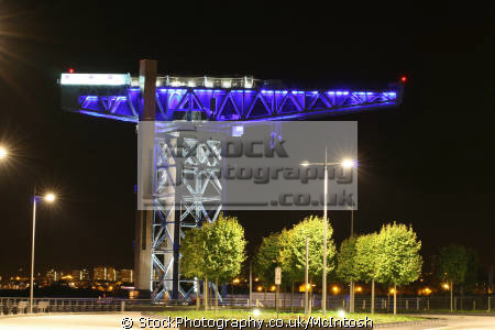 great titan crane clydebank bathed light night famous sights london capital england english river clyde scotland glasgow central scottish scotch scots escocia schottland united kingdom british