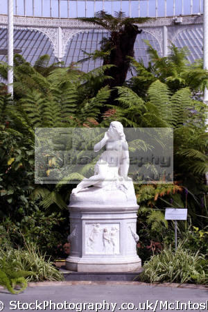 kibble palace. west end. inside view statue eve plinth historical uk buildings history british architecture architectural wrought iron marble glass glasgow central scotland scottish scotch scots escocia schottland united kingdom