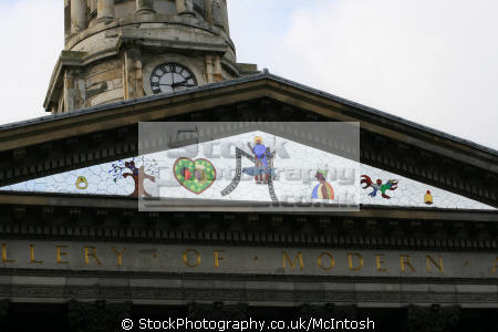 mosaic showing bell bird tree fish st mungo. uk art galleries british architecture architectural buildings gallery modern glasgow central scotland scottish scotch scots escocia schottland united kingdom