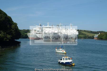 pleasure craft showing scale moored ships river fal 2008 recession falmouth cornwall cornish england english angleterre inghilterra inglaterra united kingdom british
