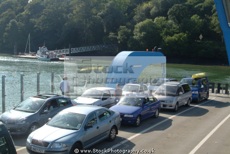 cars parked king harry ferry boats marine floating bridge feock philleigh roseland peninsula river fal falmouth cornwall cornish england english angleterre inghilterra inglaterra united kingdom british