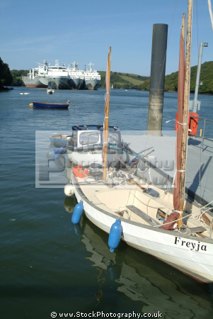 boats moored river fal ghost fleet distant marine freyja falmouth cornwall cornish england english angleterre inghilterra inglaterra united kingdom british