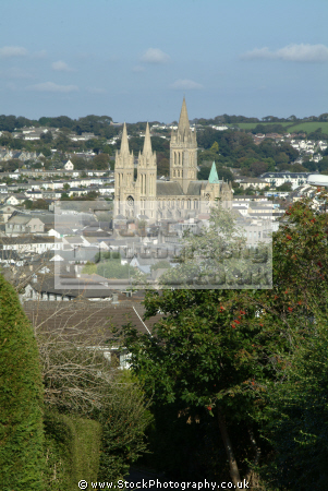 truro seen chapel hill cathedral dominant south west towns england southwest country english cornish cornwall angleterre inghilterra inglaterra united kingdom british