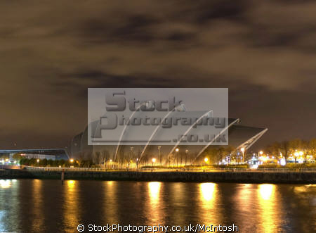 armadillo concert hall walkway lights reflecting river clydeside nationalities nations glasgow clyde central scotland scottish scotch scots escocia schottland united kingdom british