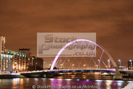 finnieston bridge clyde arc known squinty glasgow lit pink reflections river. clydeside nationalities nations scotland river central scottish scotch scots escocia schottland united kingdom british