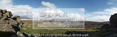 panoramic view dartmoor bonehill rocks devon granite moorland countryside rural environmental uk england great britain national park landscape geology rock formation scenic outcrop moor idyllic place boulder environment tors devonian english angleterre inghilterra inglaterra united kingdom british