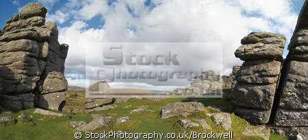 panoramic view dartmoor devon granite rocks moorland countryside rural environmental uk england great britain national park bonehill landscape geology rock formation scenic outcrop moor idyllic place boulder environment tors devonian english angleterre inghilterra inglaterra united kingdom british