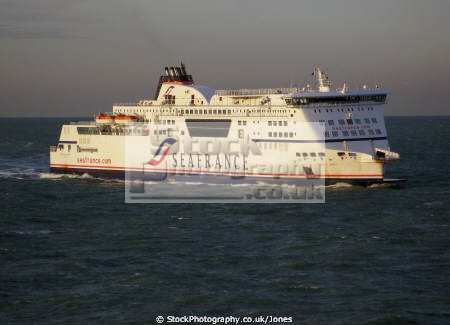 ferry seafrance berlioz sailing dover calais. boats marine shipping boat english channel le manche port docks navigation maritime nautical kent england angleterre inghilterra inglaterra united kingdom british
