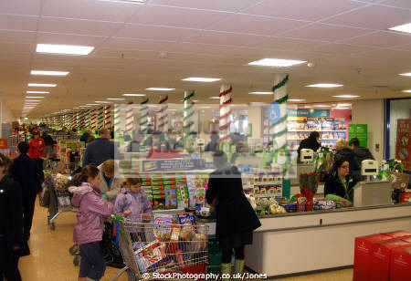 checkout desks asda derby run-up run up runup christmas. retailers brands branding uk business commerce supermarket shopping shop retail provisions grocery groceries food gifts presents xmas derbyshire england english angleterre inghilterra inglaterra united kingdom british