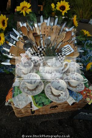 eden project crockery set cutlery display mediterranean biome tourist attractions england english botanical garden attraction architectural geodesic dome cornish cornwall angleterre inghilterra inglaterra united kingdom british