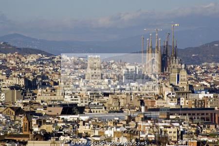 barcelona view montju funicular railway catalunya catalonia spanish espana european espagne espa cityscape sagrada familia spain spanien la spagna
