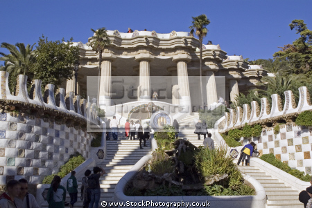 barcelona main entrance lower court gaudi parc ell catalunya catalonia spanish espana european mosaic leisure park ornamental gardens espagne espa guell spain spanien la spagna