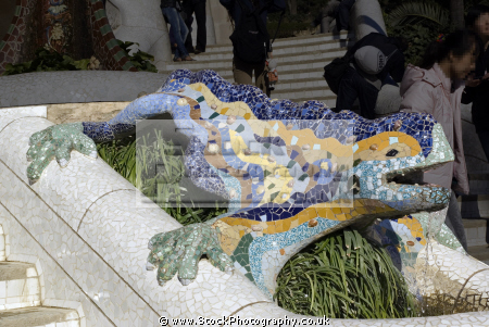 barcelona dragon main entrance gaudi parc ell catalunya catalonia spanish espana european mosaic leisure park ornamental gardens espagne espa lizard tiled guell spain spanien la spagna