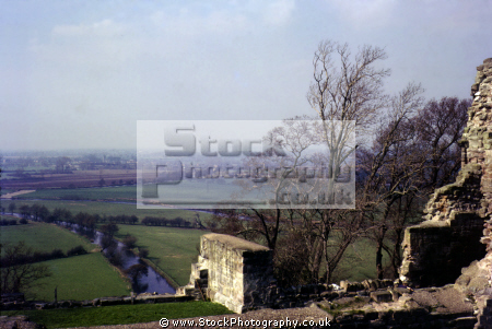 tutbury castle staffordshire uk looking river dove. british castles architecture architectural buildings duchy lancaster ruins ruined henry ferrers mediaeval staffs england english angleterre inghilterra inglaterra