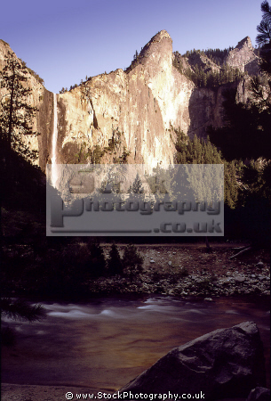 yosemite np merced river bridalveil falls evening wilderness national park california californian