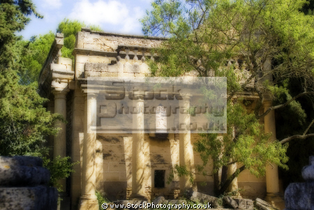 romanesque follie outside private house near argilliers provence french buildings european columns ruin classical ionic archeaology building stonework gard languedoc-roussillon languedoc roussillon languedocroussillon france la francia frankreich