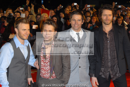 english vocal pop group gary barlow howard donald jason orange mark owen boy bands groups stars musicians celebrities celebrity fame famous star white caucasian portraits