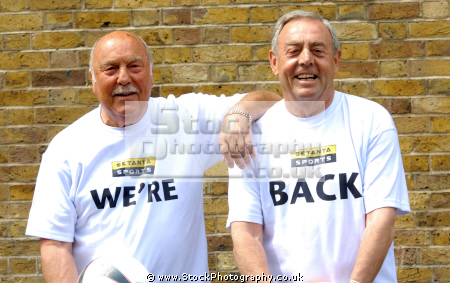 jimmy greaves ian st john saint greavsie ex footballers sports pundits british tv hosts sporting television presenters celebrities celebrity fame famous star males white caucasian portraits