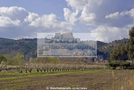 tarragona region spain village castle miravet overlooking river ebre. catalunya catalonia spanish espana european espagne espa mediaeval fortified costa brava spanien la spagna