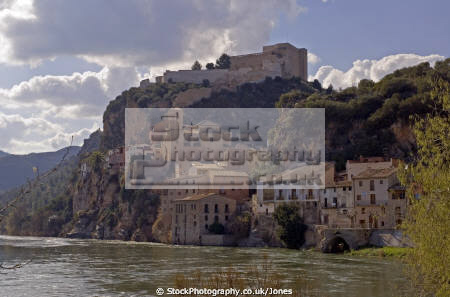 tarragona region spain village castle miravet overlooking river ebre. catalunya catalonia spanish espana european espagne espa mediaeval fortified reflections costa brava spanien la spagna