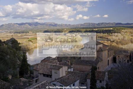 tarragona region spain village miravet overlooking river ebre. catalunya catalonia spanish espana european espagne espa mediaeval fortified reflections costa brava spanien la spagna
