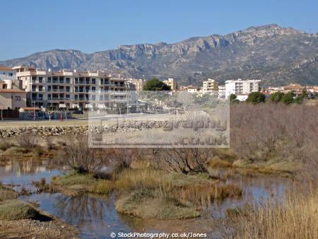 tarragona region spain river llastres near town hospitalet infant costa dorada mediterranean catalunya catalonia spanish espana european espagne espa miami platja brava spanien la spagna