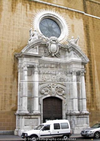 romanesque church doorway ramblas vella spanish city tarragona. costa dorada mediterranean catalunya catalonia espana european iglesia esgl sia espagne espa religious catholic daurada durada brava spain spanien la spagna