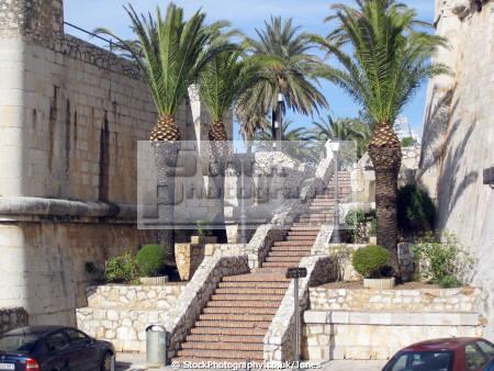 pe iscola spain steps near papal palace castillo papa luna spanish espana european espagne espa bay holiday vacation mediterranean valencia castell costa del azahar valenciana peniscola spanien la spagna