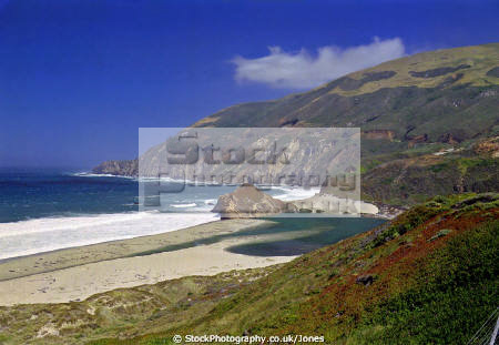 big sur california. little river crossing beach. monterey california american yankee highway carmel andrew molera pacific cabrillo californian united states