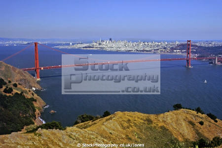 golden gate bridge marin headlands. city san francisco far distance. california american yankee bay area peninsula county headlands alcatraz fort point engineering suspension californian united states