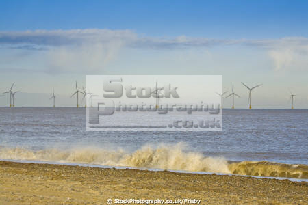 view beach scroby sands windfarm near great yarmouth norfolk england largest shore europe uk coastline coastal environmental city coast sea wind generator english angleterre inghilterra inglaterra united kingdom british