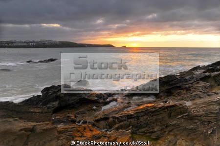fristral beach coast newquay cornwall british seaside coastal resorts leisure atlantic ocean sea water sunset light cornish england english angleterre inghilterra inglaterra united kingdom