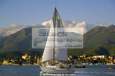sailing yacht golfe saint florent corsica town st setting sun yachts yachting sailboats boats marine haute corse harbour port marina haven quayside eglise citadel twilight sunset evening france la francia frankreich french