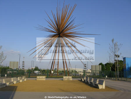 bang sculpture built commemorate success 2002 commonwealth games series metal spikes mimics explosion structure taken april 2009 safety reasons arts manchester england english angleterre inghilterra inglaterra united kingdom british