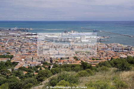 languedoc france town te taken mont st clair looking east harbour french landscapes european herault montpellier mediterranean golfe du lion seaside roussillon la francia frankreich