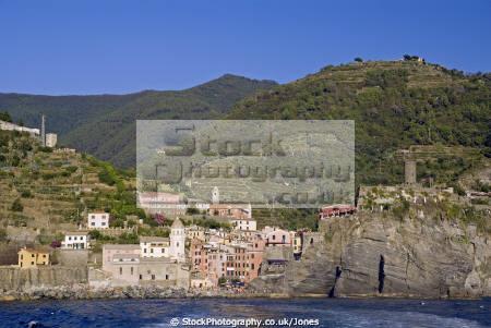 italy cinque terre town vernazza ferry liguria italian european italia riviera mediterranean lands italien italie
