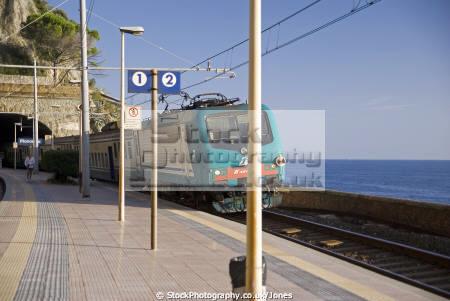 genoa train arrives manarola italy cinque terre liguria italian european italia riviera mediterranean railway transportation station lands italien italie