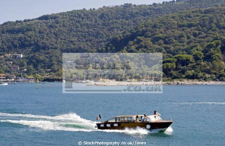 italy water taxi near town portovenere liguria italian european italia riviera cinque terre geology mediterranean italien italie
