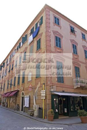 town sestri levante italian riviera building trompe œil decoration liguria italy european italia cinque terre mediterranean lands oeil italien italie