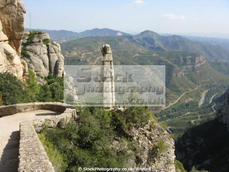 view beneath monastery montserrat catalunya catalonia spanish espana european mountains barcelona spain spanien espa espagne la spagna